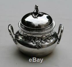PUIFORCAT SUCRIER ARGENT MASSIF VERMEIL ART NOUVEAU Sterling Silver Sugar Bowl