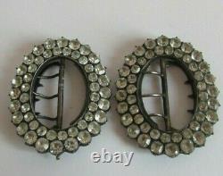 Paire De Boucles A Chaussure En Argent Massif Et Strass Silver Shoes Buckles