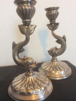 Paire De Bougeoirs En Argent Massif Silver Antique Candle Holders +++