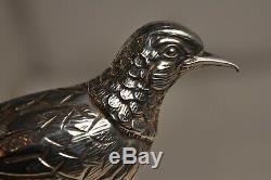 Paire De Faisans En Argent Massif Solid Silver Centerpiece Pheasants