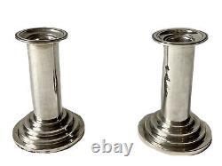 Paire de Bougeoirs de Toilette Argent XIXème Antique Pair of Silver Candlesticks