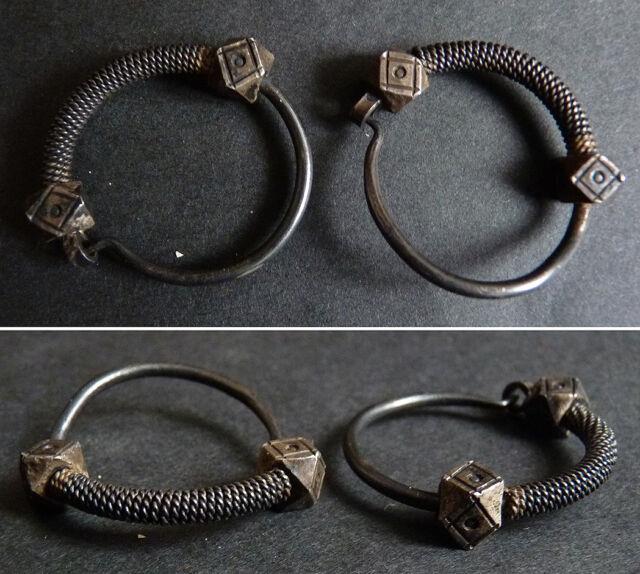 Paire De Boucles D'oreille Argent Massif Ethnique Bijoux Ancien Silver Earrings