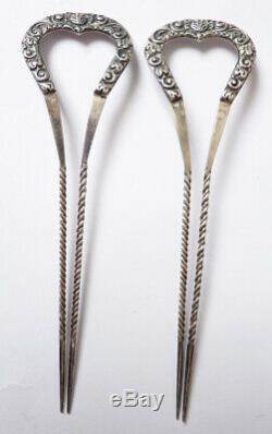 Paire de peigne en ARGENT silver comb tiara peineta bijou