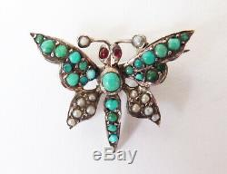 Papillon insecte Broche en argent massif + turquoise Bijou ancien silver brooch