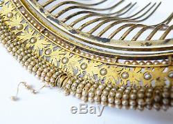 Peigne diadème Empire 19e s vermeil ARGENT silver comb tiara peineta bijou