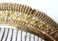Peigne diadème Empire 19e siècle vermeil ARGENT silver comb tiara peineta bijou