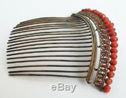 Peigne diadème corail vermeil 19e siec silver comb tiara peineta corallo coral