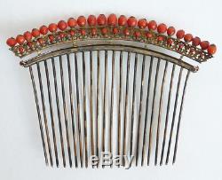 Peigne diadème corail vermeil 19e silver comb tiara peineta bijou coral