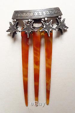 Peigne diadème étoile de Digne St Vincent ARGENT 19e siècle silver comb tiara
