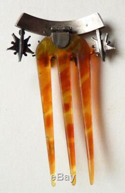 Peigne diadème étoile de Digne St Vincent ARGENT pentacrine silver comb tiara