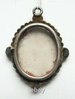 Pendentif 19e siècle cadre argent massif + grenat + émail painting silver garnet