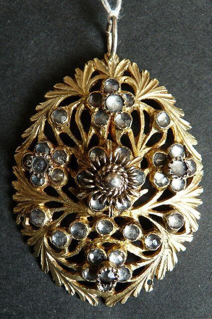 Pendentif 19e Siècle En Vermeil Argent Massif Et Cristal Taillé Silver Cross