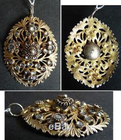 Pendentif 19e siècle en vermeil argent massif et verre taillé silver cross