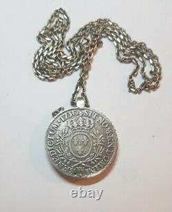 Pendentif Loupe ANCIEN ELOI PERNET ecu Louis XV 1730 W silver chaine argent