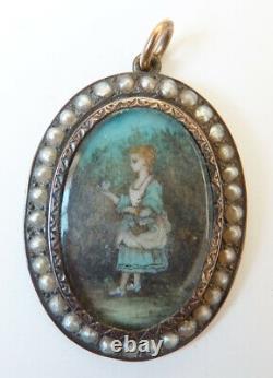 Pendentif argent et or 18k + perle peinture miniature 19e siècle silver painting