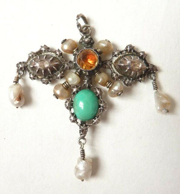 Pendentif Argent Massif + Diamants + Perles 19e S Pearl Silver Diamond Pendant