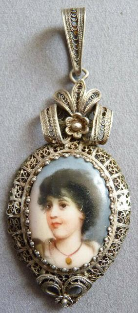 Pendentif Argent Massif Peinture Miniature Sur Porcelaine 19e S Silver Pendant