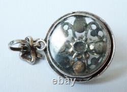 Pendentif argent massif + turquoise perles bijou ancien pearl porte-photo silver