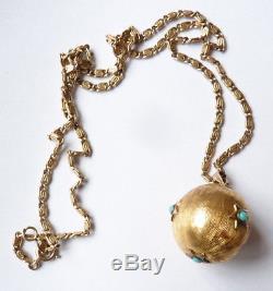 Pendentif boule et chaine en argent massif bijou ancien silver pendant