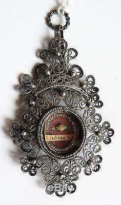 Pendentif reliquaire argent 19e s Ossibus Saint JULIAN JULIEN silver reliquary