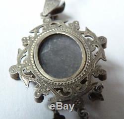 Pendentif reliquaire argent massif + turquoises + améthystes silver pendant