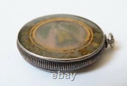Pendentif reliquaire en argent massif Bijou ancien silver pendant verre églomisé