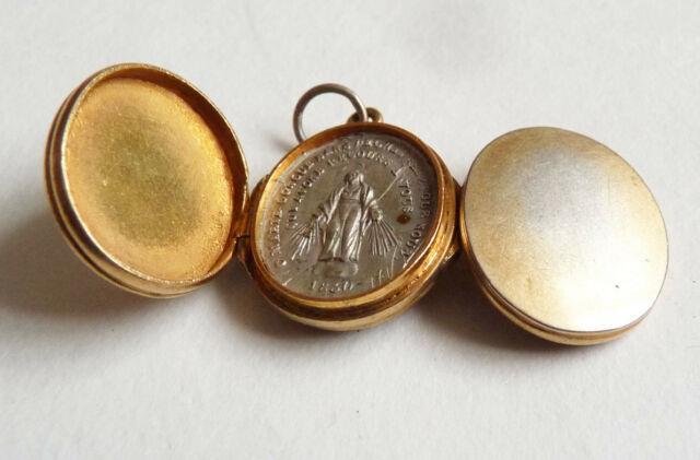 Pendentif Reliquaire Vermeil Argent Massif Vierge Marie 1830 Silver Reliquary