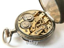 Petite montre de gousset de col ARGENT niellé 19e siècle silver pocket watch