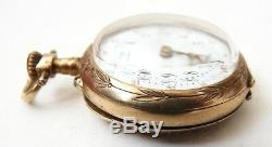 Petite montre de gousset de col vermeil 19e siècle silver pocket watch