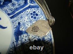 Plat Porcelaine De Chine & Argent Massif Hollandais Dutch Solid Silver Tray