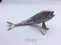 Poisson articulé argent massif Espagnol et yeux en verre Articulated Fish Silver