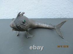 Poisson articule argent massif boite old silver fish box sculpture vers 1900
