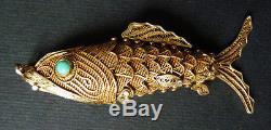 Poisson pendentif boite aiguilles vermeil argent massif bijou silver fish