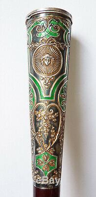 Pommeau manche de canne ombrelle ARGENT + émail 19e siècle silver stick