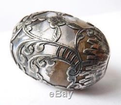 Pommeau manche ombrelle en ARGENT et cristal de roche 19e silver oeuf 00