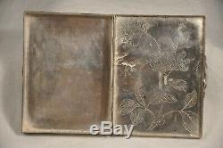 Poudrier Ancien Argent Massif Chine Antique Chinese Solid Silver Powder Compact