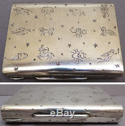 Poudrier minaudière argent massif Signes Zodiaque astrologie silver box 284 gr