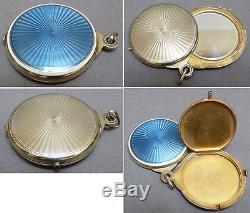 Poudrier miroir pendentif vermeil argent + émail vers 1920 silver enamel 54,5gr