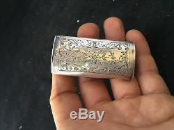 Pyrogène Boîte Allumette XIX Argent Massif Finement Ciselé Antique French Silver