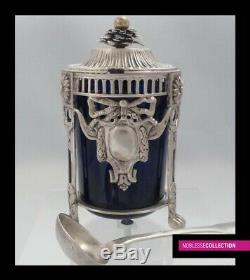 RARE ANTIQUE 1800s FRENCH STERLING/SOLID SILVER MUSTARD POT MAASTRICHT 1798-1809