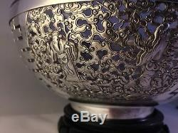 RARE/Grand Bol En Argent Massif Chinois 1900 Chinese Export Silver