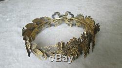 RARE couronne de laurier et chêne argent massif et or Silver French Crowned