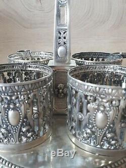 Rare Debut 19eme Service 4 Condiment Argent massif poinçon Lille silver napoleon