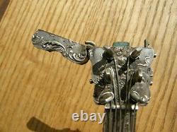 Rare Mandoline Flacon à Parfum Boite en Argent Massif Angelots Silver Silber