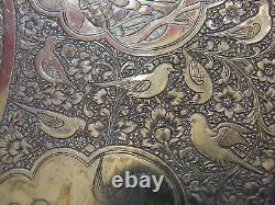 Rare Plat en Argent Massif Qadjar Qajar Kadjar Silver Silber Perse Iran