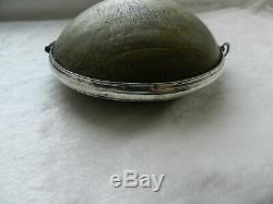 Rare poire à poudre 18 ème monture argent massif 1er Empire silver powder flask