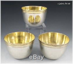 Rare série de Curons Argent massif Vermeil AUGSBOURG 1741-43 Silver Tumbler Cups