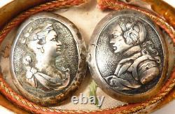 Reliquaire argent médaillon bouton Roi France Reine 18e siècle reliquary silver