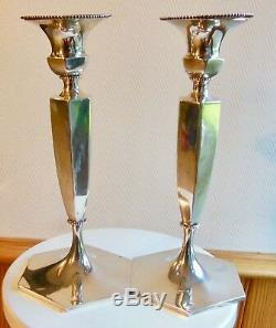 Roger Williams Silver Co, Paire Flambeaux Bougeoirs Art Deco, Candlestick