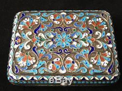 Russian Silver Enamel Antique Box Boîte Argent Massif Emaillé Russe Emaux Ancien